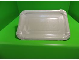 Тарелка картонная 133х193  белая ламинированная 100 шт/уп. 800 шт/кор.