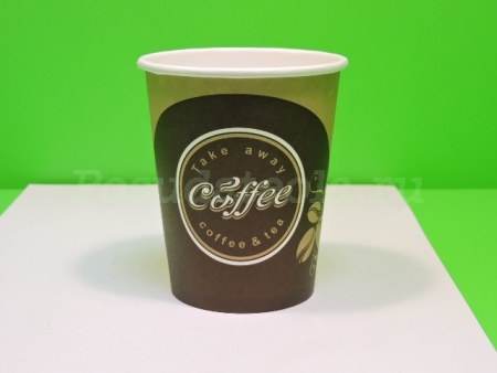 "Стакан бумажный 250 мл. ""Coffee take away"", д=80 мм,  50 шт/уп, 1000 шт/кор"